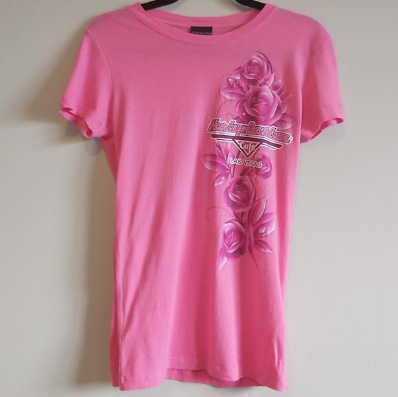 Harley Davidson Pink Grapic T Shirt L